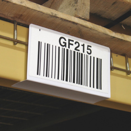 Warehouse shelf label holder for wire rack decking