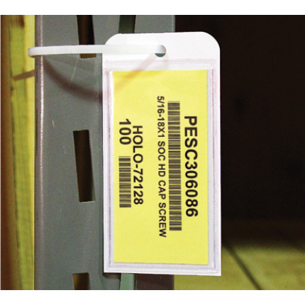 Warehouse label tags with a clear, protective card holder