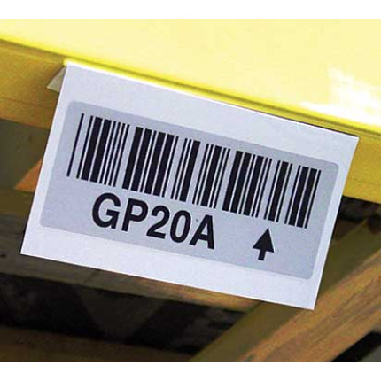 Reflective barcode labels for long range scanning of high rack levels