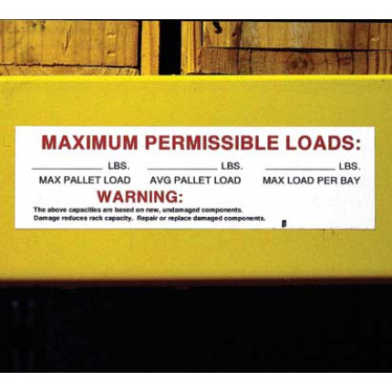 Pallet rack capacity labels to indicate permissible weights on warehouse racks