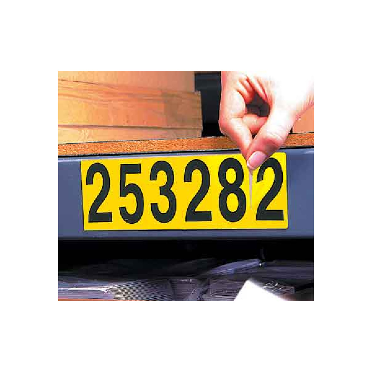 Adhesive Letter Number Strips - black on yellow