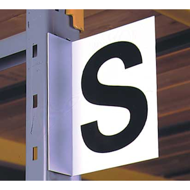 pre-lettered warehouse aisle sign with magnetic foot, black letter on white