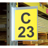 white aisle location magnetic pouch sign on a warehouse rack upright