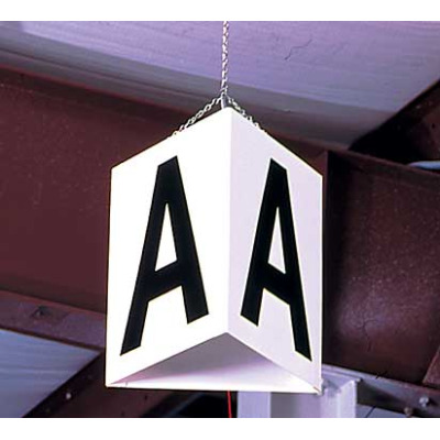 Triangle hanging signs for warehouse