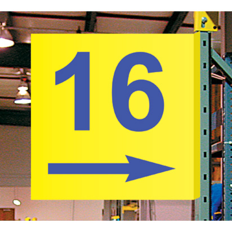 warehouse aisle color sign with magnetic foot, color lettering