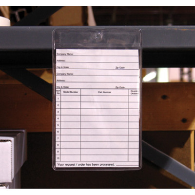 adhesive tag holder on warehouse shelf lip