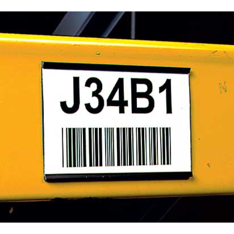 Magnetic rubber card holder with 3x5 bar code label on warehouse rack