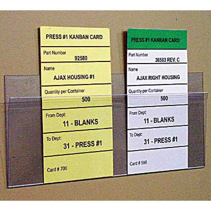 Clear grip holder with kanban card