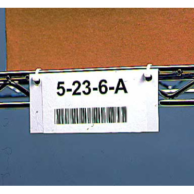 Custom printed bar code label on rack