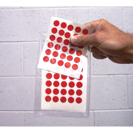 red dots on 5 sheets in a clear pouch
