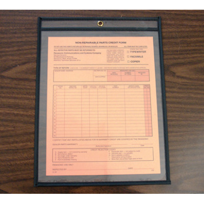 Heavy duty, stitched, warehouse document holder on peg